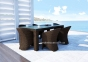 Обеденный стол Rapallo из техноротанга со стеклом, 160 см 2