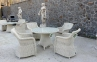 Обеденный стол Рикконе из искусственного ротанга 110 см, белый 0