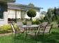 Обеденный садовый комплект Ottawa из текстилена и алюминия (бежевая полоска, светло-коричневый) 0