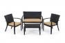 Комплект с двухместным диваном California из искусственного ротанга, серый 3