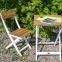 Садовый комплект раскладной мебели из массива акации: стол и 2 стула, натуральный с белым 2