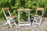 Садовый комплект раскладной мебели из массива акации: стол и 2 стула, натуральный с белым 0