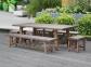 Садовый стол Sandstone из композитного камня и массива акации 220 см 0