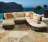 Большой модульный диван Stella из искусственного ротанга (коричневый, белый) 4