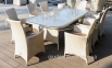 Стол садовый обеденный Океан из искусственного ротанга 226 см, светло-бежевый 0