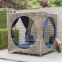 Шезлонг с навесом Cubic из искусственного ротанга, бежевый 2