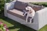 Комплект для отдыха Удин: диван, 2 кресла и кофейный столик  из искусственного ротанга, белый 3