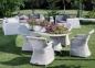 Обеденный стол Рикконе из искусственного ротанга 110 см, белый 2