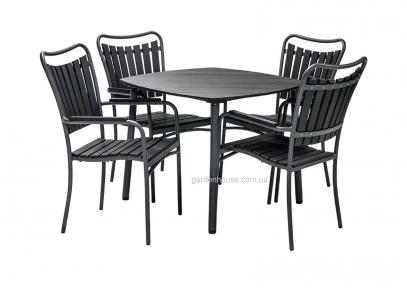 Садовый обеденный комплект Sestino: стол и 4 стула из искусственного дерева, черный