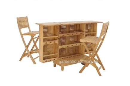 Комплект тиковой мебели для бара: барная стойка и 2 барных стула