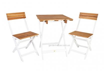 Садовый комплект раскладной мебели из массива акации: стол и 2 стула, натуральный с белым