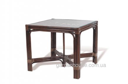 Обеденный стол из натурального ротанга квадратный 90х90 см