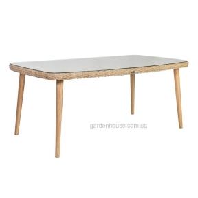 Стол обеденный из искусственного ротанга со стеклом Retro 180x100xH75 cм