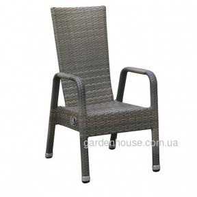 Садовое кресло с регулируемой спинкой Male из техноротанга, серо-бежевый