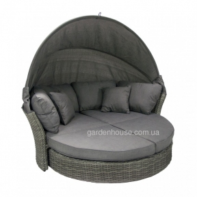 Круглый раскладной диван Muse из искусственного ротанга с навесом, серый