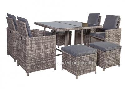 Обеденный комплект мебели на 8 персон Desmond из техноротанга, серо-бежевый