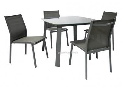 Столовый комплект садовой мебели Vigo: стол со стеклянной столешницей и 4 стула, серый