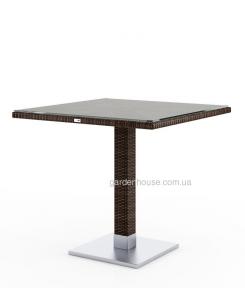 Стол Quadro из техноротанга 80х80 см, коричневый