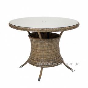 Круглый стол Wicker из искусственного ротанга со стеклом 100x76 см