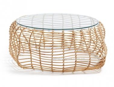 Кофейный столик Bettel из натурального ротанга со стеклом
