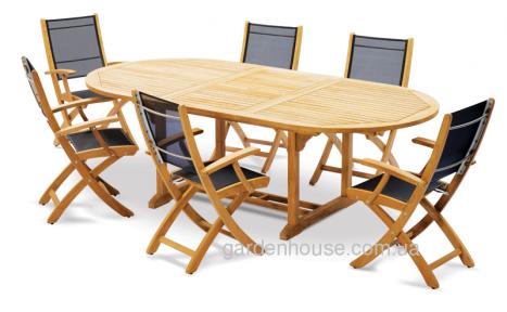 Обеденный комплект мебели на 6 человек: стол Tavolo и стулья Lekko из тикового дерева