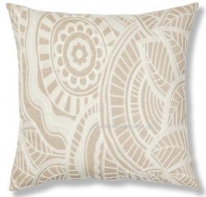 Декоративная подушка Minimal с белой вышивкой 45x45 см, бежевый