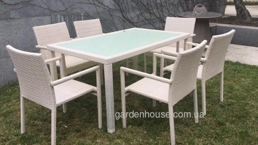 Обеденный комплект Таурус: стол и 6 стульев из искусственного ротанга, белый