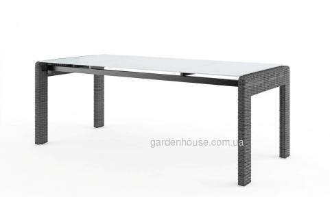 Большой обеденный стол Prato из искусственного ротанга со стеклом, 200 см