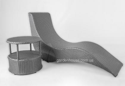 Шезлонг Stella с приставным столиком из искусственного ротанга, темно-серый