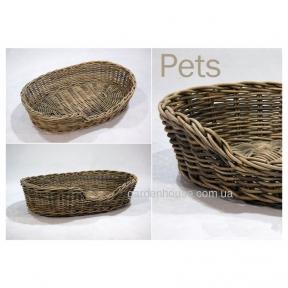 Плетеный лежак для собак и котов