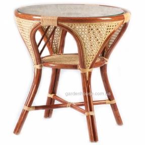 Стол из натурального ротанга со стеклом Ø 74 см