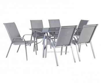 Обеденный садовый комплект: стол Denver и 6 стульев Detroit из текстилена  (5 цветовых вариаций)