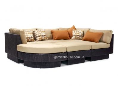 Большой модульный диван Stella из искусственного ротанга (коричневый, белый)