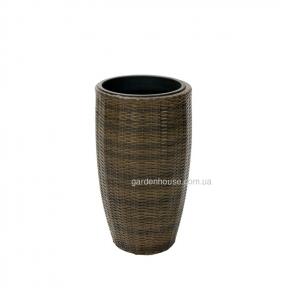 Цветочная ваза Wicker из искусственного ротанга Ø 38 см (коричневый, черный)