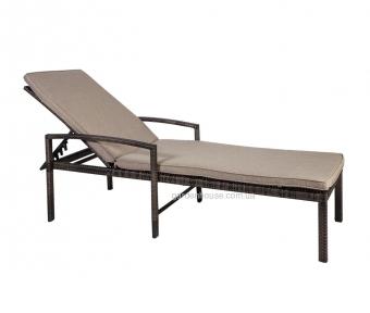 Шезлонг с подушкой Викер из искусственного ротанга, темно-коричневый