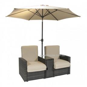 Двухместный шезлонг Classic из искусственного ротанга с зонтиком, коричневый