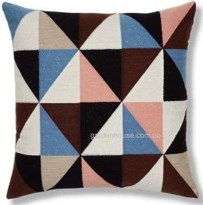 Подушка декоративная квадратная Renaud с вышивкой 45x45 см, многоцветная
