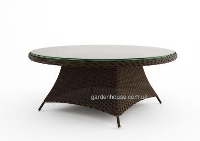Большой обеденный стол Rondo из искусственного ротанга со стеклом  Ø 180 см
