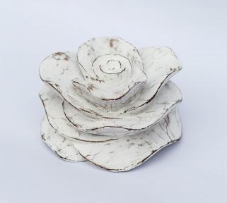 Декоративная роза белая из дерева (13х10 см, 17х10 см)
