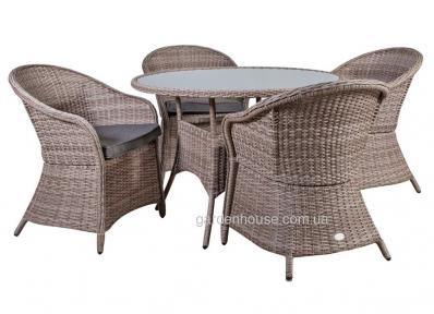 Обеденный комплект Siena из искусственного ротанга: стол Ø 105 см и 4 кресла