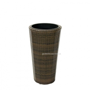 Ваза садовая Wicker из техноротанга Ø 38 см (коричневый, черный)