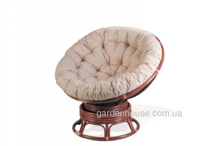 Крутящееся кресло Papasan из натурального ротанга с подушкой