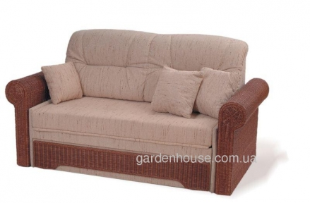 Плетеный раскладной диван из натурального ротанга