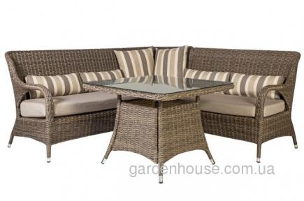 Обеденный комплект мебели с угловым диваном Loreto из искусственного ротанга