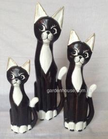 Набор статуэток кошек с белыми грудками (50, 40 и 30 см)