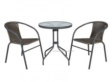 Двухместный комплект для террасы Bistro из искусственного ротанга, серый