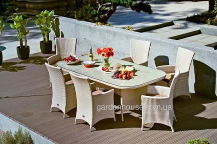 Стол садовый обеденный Океан из искусственного ротанга 226 см, светло-бежевый