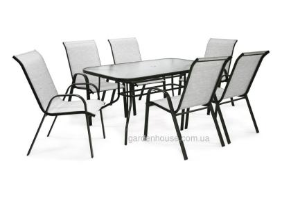 Обеденный комплект Дублин: стеклянный стул и 6 стульев из текстилена