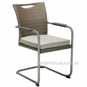 Ротанговый стул Scafa с подлокотниками, серо-бежевый