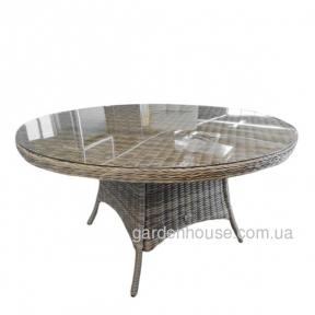 Обеденный стол Amy из искусственного ротанга Ø 160 см, бежевый